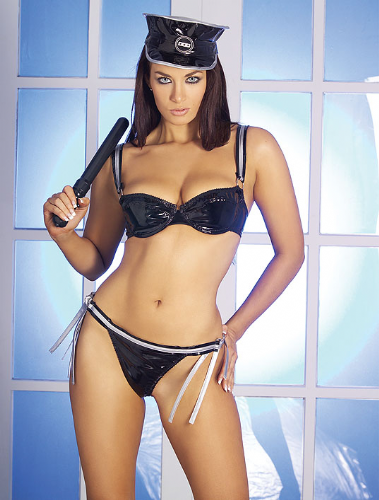 Policewoman Sexy PVC Bikini Fancy Dress (Wild Designs)
